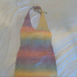 Knit crochet pastel halter low back beach cover up